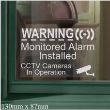 1 x 130mm Window Stickers CCTV & Monitored Alarm System Installed,Video Recording Camera-Security Warning Window Stickers-Mini Self Adhesive Vinyl Signs